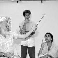 "Shakespeare Santa Cruz: ""Henry IV, Part 1"", directed by Michael Edwards: rehearsal, with Tony Church, Paul Whitworth, and unidentified others"