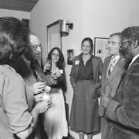 "Former California Governor Edmund ""Pat"" Brown visits UC Santa Cruz: Robert Sinsheimer, J. Herman Blake, and unidentified others, with Gov. Brown"