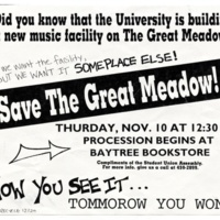 """Save the Great Meadow!"" Anti-growth flyer. 1984."
