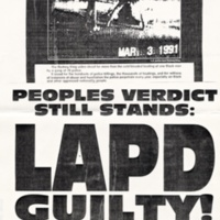 Protest of Los Angeles Police Department police violence against Rodney King. Flyer, 1991.