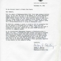 Letter from Audrey Stanley