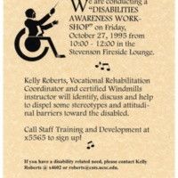 Disability Awareness Workshop. Flyer. 1995.