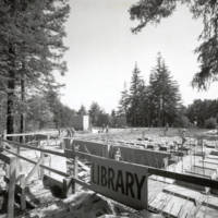 McHenry Library: construction view,. Circa October 1965