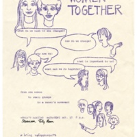 Women Together flyer for women's liberation meeting at Stevenson College Jolly Room. November 17, 1971.