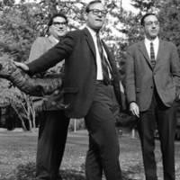 Jacob Michaelson, Professor of Economics; Raymond Nichols, Professor of Government; and Leonard Kunin, Professor of Economics. Circa 1966.