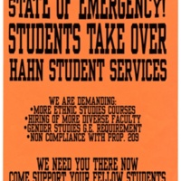 Students Take Over Hahn Student Services. Prop 209 protest, 1996.