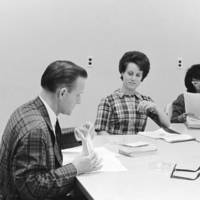 Siegfried Puknat, Professor of German Literature, founding faculty, with students. 1966.