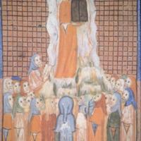 The Sarajevo Haggadah, Moses holding the Ten Commandments, f. 30r