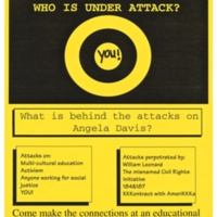"""Who is Under Attack?"" flyer. Attacks on multicultural activism. Oakes College, 1995. Poster."
