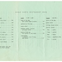 Whole Earth Restaurant mission statement and menu. Circa 1970.