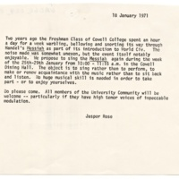 Invitation to Messiah sing-a-long from Jasper Rose. January 18, 1971.