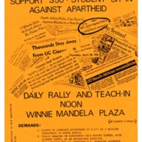 Anti-apartheid Protest Day 3. Flyer. April 1985.