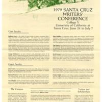 Santa Cruz Writers Conference. College Five. 1979. Poster.