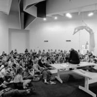 Kresge College: Professor Gregory Bateson with students at the Kresge Town Hall. 1973.