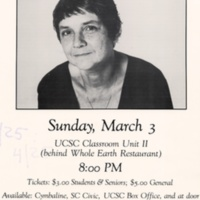 Adrienne Rich reading poster. Benefit for Nancy Shaw Defense Fund. Early 1980s.