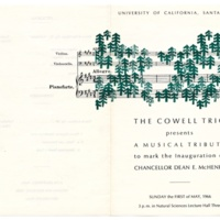 Chancellor McHenry inauguration Cowell Trio flyer. May 1, 1966