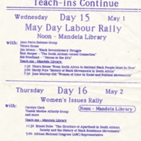 Anti-apartheid Protest Day 15 and 16. Flyer. May 1985.