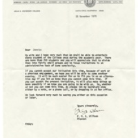 Invitation letter from Stevenson College Provost Glenn Willson to students to be entertained in provost's house. November 25, 1970.