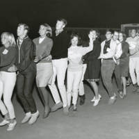 """Pioneer Class:  dance at the East Field House: students doing the """"Bunny Hop."""" 1965."""
