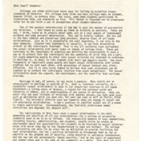 Provost Page Smith Pastoral Letter. May 20, 1966.