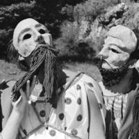 """Aristophanes' """"The Congresswomen"""" in the Quarry Amphitheater: all-male performance, with masks. 1970."""