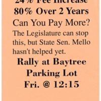 Tuition increases protest flyer. Circa 1990s.