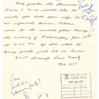 Dinner invitation to Chancellor Dean McHenry from Stevenson College Students. November 20, 1970.
