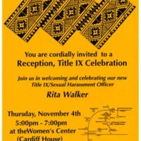 Welcoming reception for Rita Walker, Title IX Sexual Harassment Officer. Poster. Circa late 1980s.