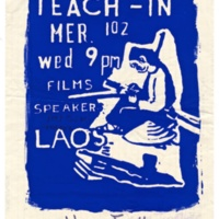 """Teach in about Laos,"" wood block print poster. Sponsored by Women Together, circa late 1960s or early 1970s."