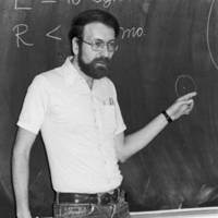 George Blumenthal, professor of astronomy and astrophysics, in a classroom, ca. 1973