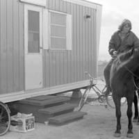 Pioneer Class: Cheryl Johnson of Godzilla's House of Desire trailer, on horseback. 1965.