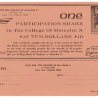 Participation share to raise money for Malcolm X College. 1969.