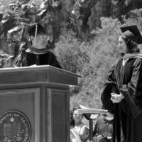 1988 Commencement: Oakes College ceremony at the Quarry Amphitheater: Provost Victor Rocha and Dolores Huerta, labor leader and civil rights activist