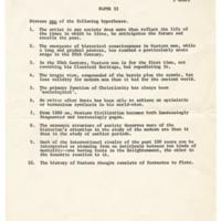 Cowell College core course: World Civilization exam prompts. Circa 1966.