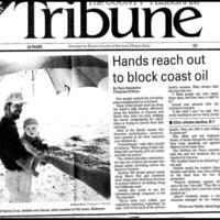 Hands Reach Out to Block Coastal Oil