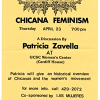 Chicana feminism talk by Professor Patricia Zavella. Sponsored by Las Mujeres. 1987.