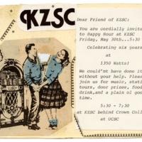 KZSC Celebration Invitation. Circa 1970s.