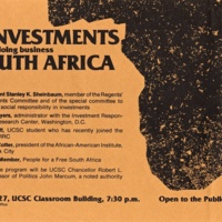 Forum on UC Investments in South Africa. Anti-apartheid movement. Circa 1980s