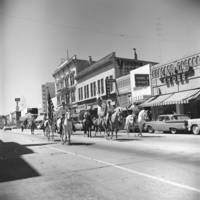 Spring Thing, May 11-14, 1967: parade in Santa Cruz, Loma Alta Riding Academy in front of retail shops. 1967.