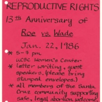 Celebrate reproductive rights event. Poster. January 22, 1986.