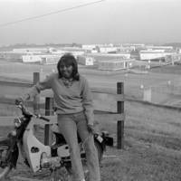 """Pioneer Class: Kirsten """"Bambi"""" Goddard with a motorcycle. 1965."""