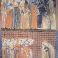 The Sarajevo Haggadah, Jacob and his sons, f. 18r