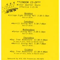 Condom Co-op flyer. UCSC HIV Prevention. Poster. 1994.