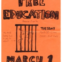 Free Education Flyer. Sammy the Slug Behind Bars. Circa 2000s.