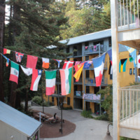 College Nine, string of flags from different countries