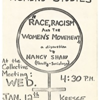 """Race, Racism, and the Women's Movement"" Talk by Nancy Shaw. Poster. Circa late 1970s."