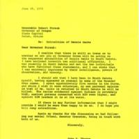 John Thorne Letter to South Dakota Governor Robert Straub (1976)