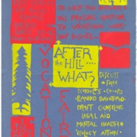 """After the Hill What?"" Woodblock print poster. Circa early 1970s."
