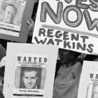 UC Regents' meeting, July 17-18, 1986: students protesting apartheid in South Africa