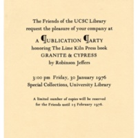Invitation to publication party for William Everson's Granite and Cypress book, Limekiln Press, February 15, 1976.